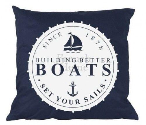 Poduszka marynistyczna Boats granatowa