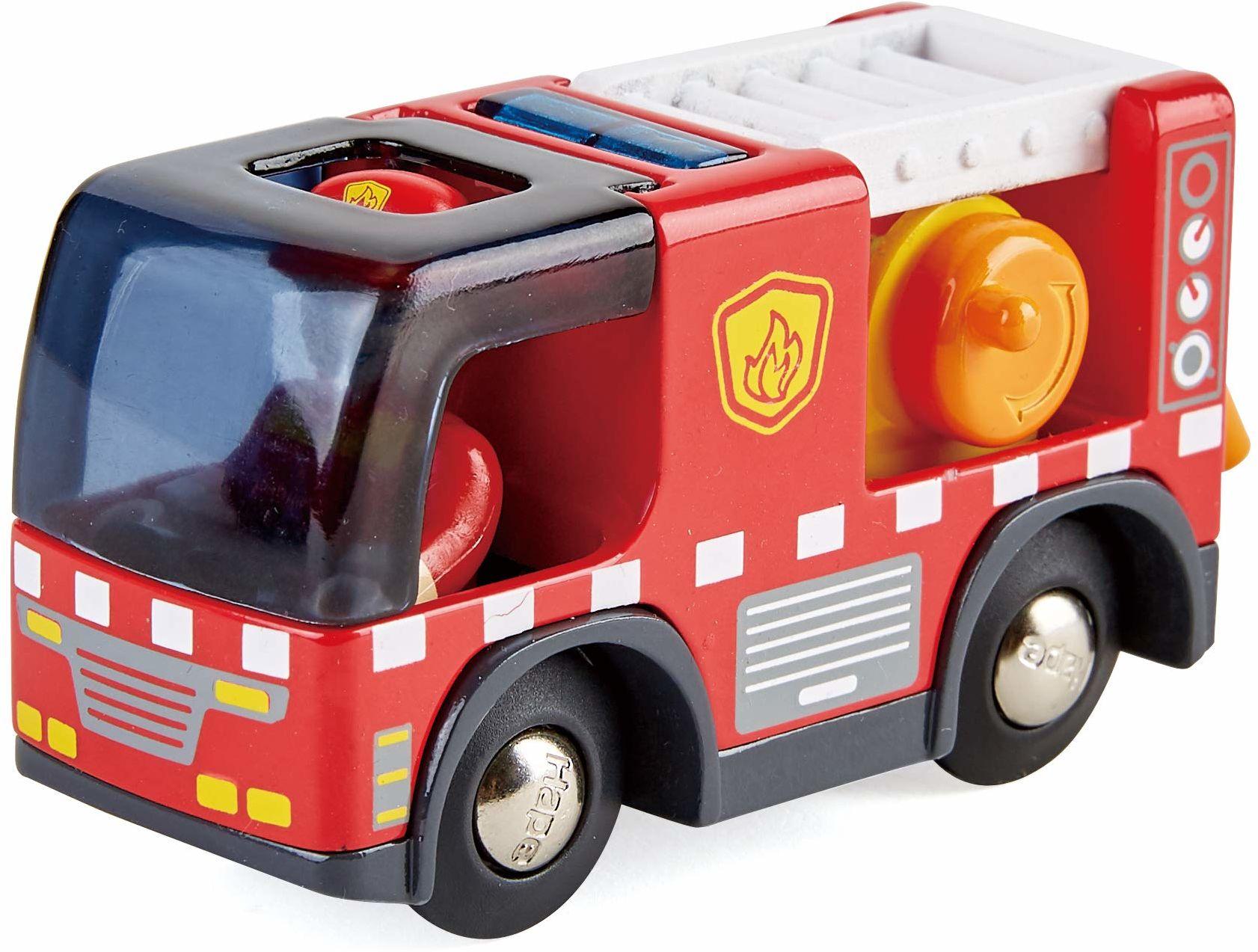 Hape E3737 E3737 samochód strażacki z syreną, figurką i pojazdem, kolejką, czerwony