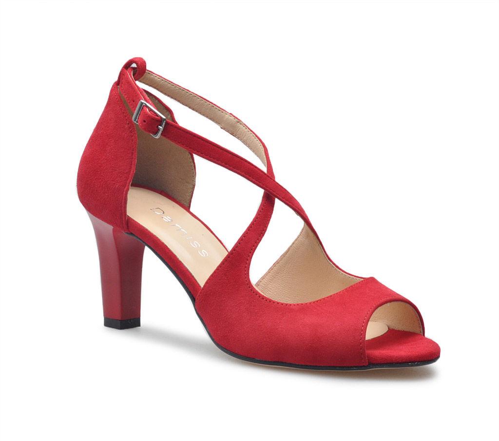 Sandały Damiss DS-354 Czerwone zamsz