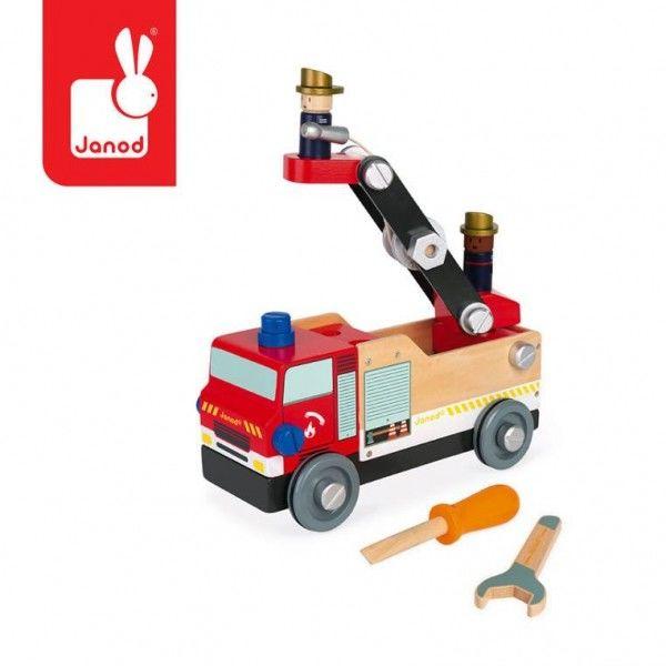 Janod - Drewniany wóz strażacki do składania z narzędziami Brico''kids