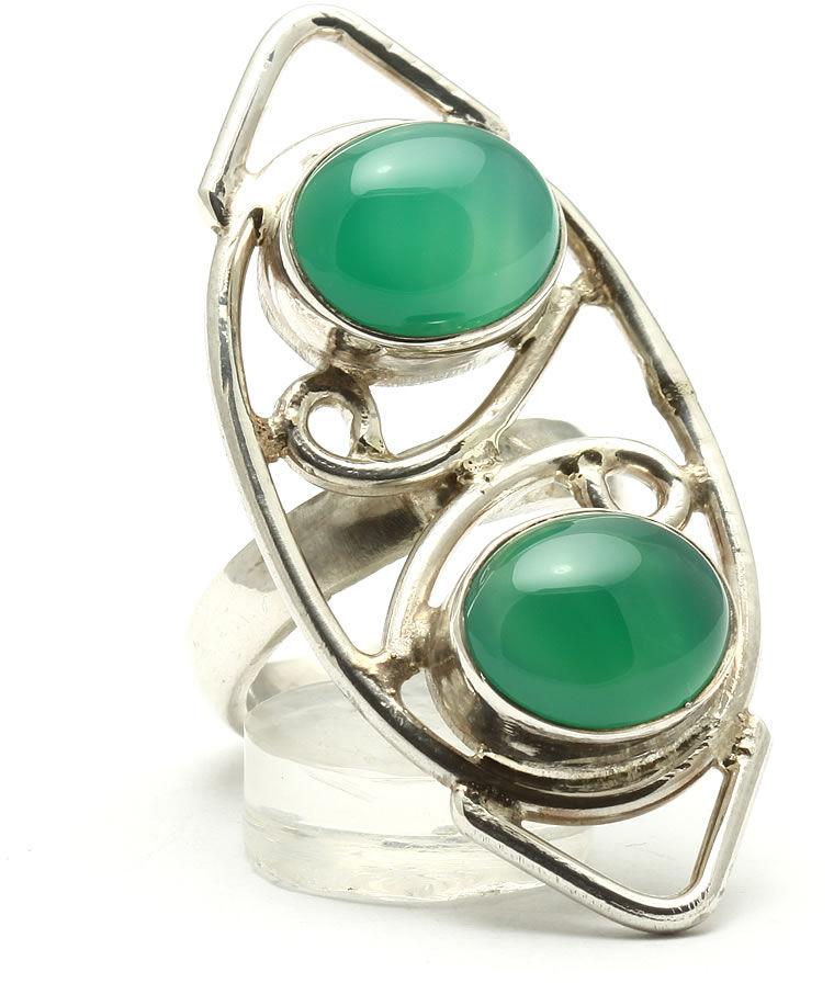 Kuźnia Srebra - Pierścionek srebrny, rozm. 14, Zielony Onyks, 11g, model