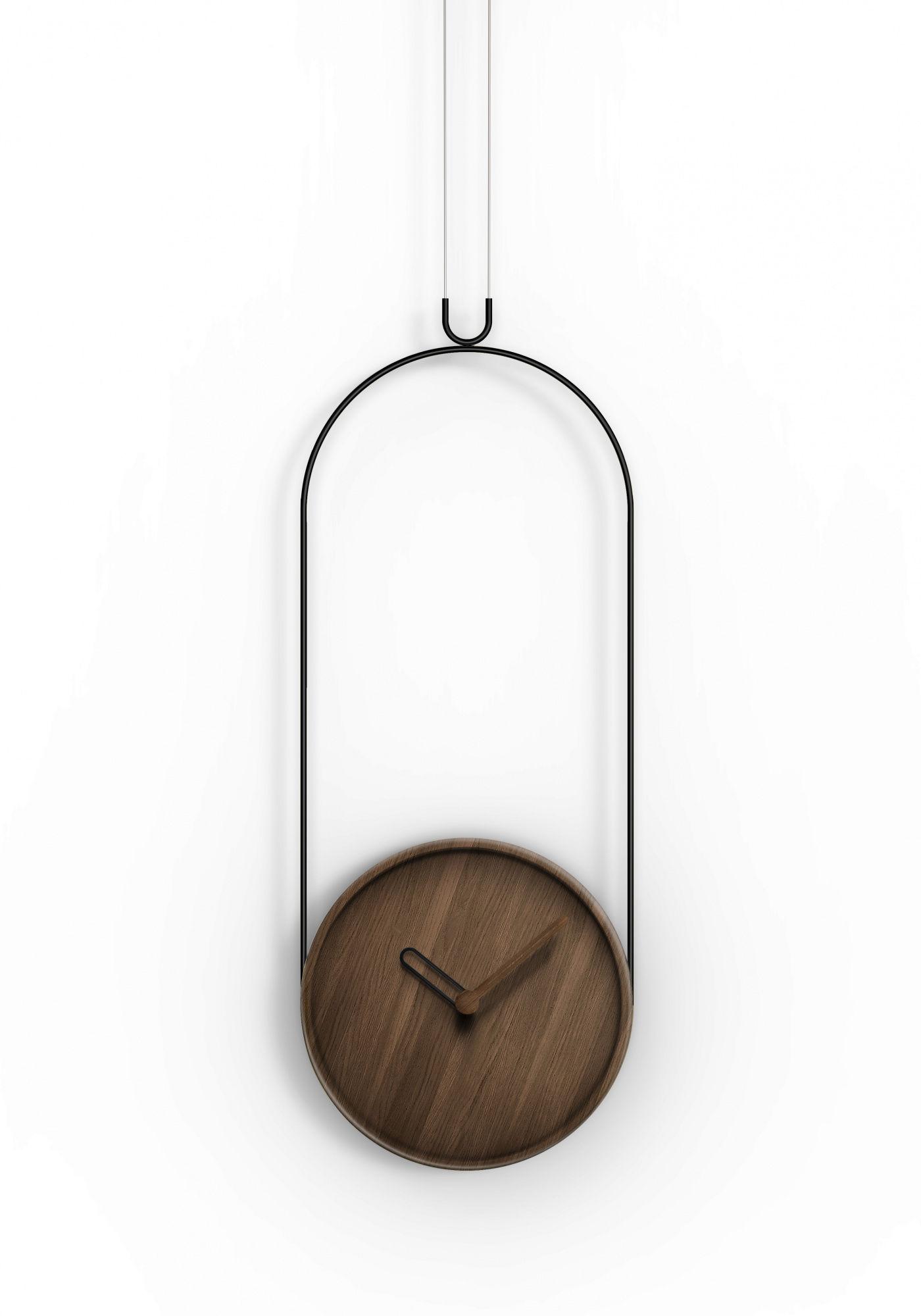 Zegar ścienny Colgante Nomon z drewnianą tarczą