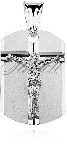 Srebrny medalik jezus na krzyżu - rodowanie