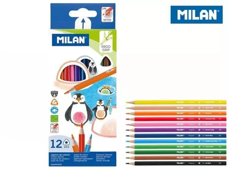 Kredki ołówkowe trójkątne 12 kolorów MILAN