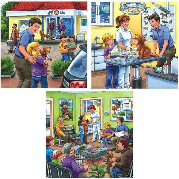 Ravensburger - Puzzle Gabinet weterynarii 3 x 49 elem. 094240