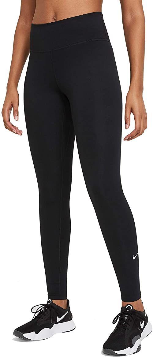 Nike Damskie legginsy W ONE MR TGHT 2.0, czarne/(białe), L