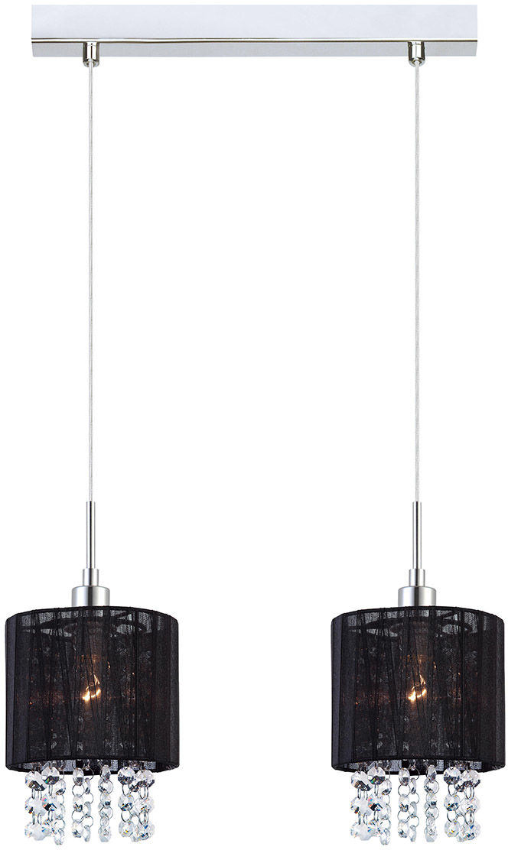 Italux lampa wisząca Astra BK MDM1953-2 BK czarny abażur z kryształami 36cm