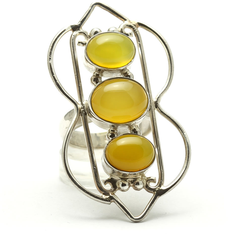 Kuźnia Srebra - Pierścionek srebrny, rozm. 14, Żółty Onyks, 11g, model
