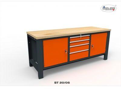 Stół do warsztatu ST20/05 na narzędzia szuflady na zamek