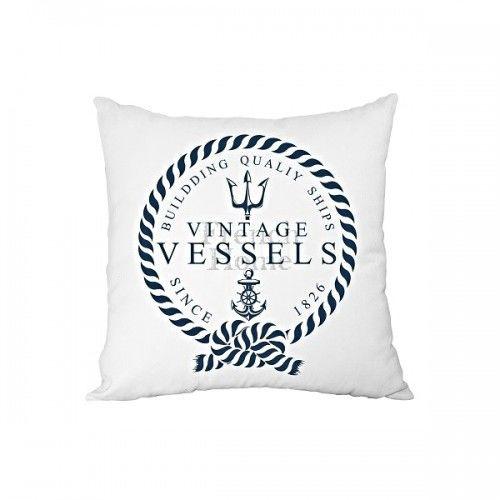 Poduszka ozdobna marynistyczna biała VESSELS