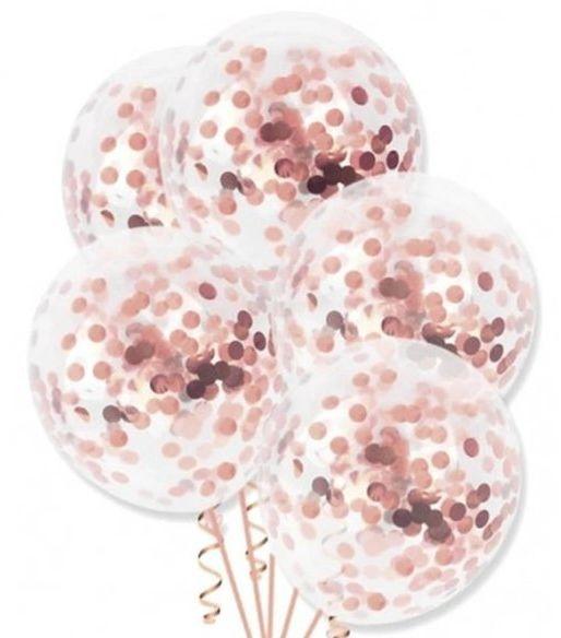 Balony przezroczyste z konfetti rose gold 30cm 4 sztuki 400107