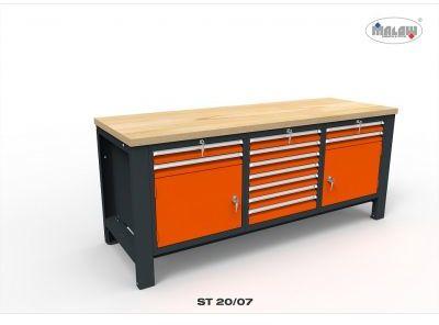 """Stół warsztatowy ST20/07 """"TRÓJKA"""" na narzędzia zamykany na klucz"""