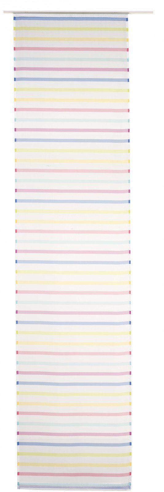 Elbersdrucke Feel Good 04 zasłona przesuwna, poliester, biało-kolorowa, 245 x 60 cm