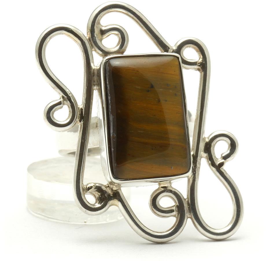 Kuźnia Srebra - Pierścionek srebrny, rozm. 14, Tygrysie Oko, 10g, model