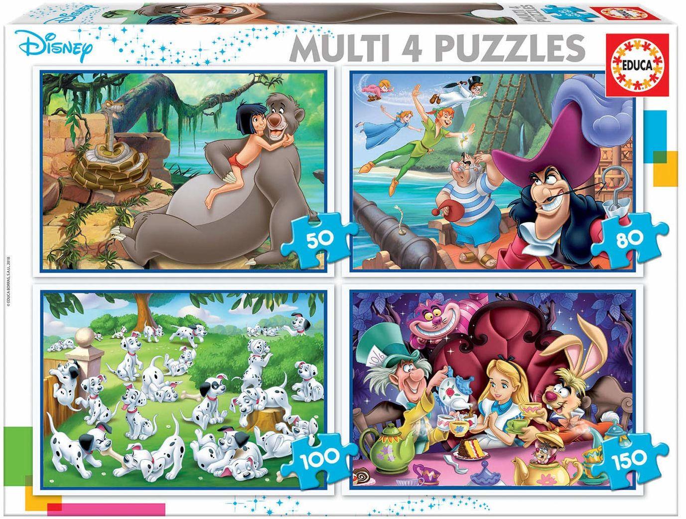 Educa Borras - Multi 4 Disney Classics of Aladdin, Jungle Book, Alicia and Peter Pan Puzzles (18105)