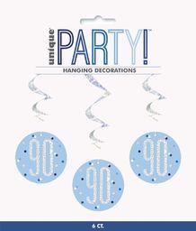 Unique Party 83804 83804-wiszący wir brokatowy niebieski i srebrny dekoracje na 90 urodziny, opakowanie 6 sztuk, niebieski, wiek 90 lat