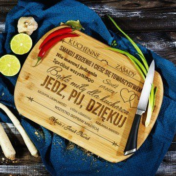 Kuchenne Zasady - deska do krojenia z grawerem