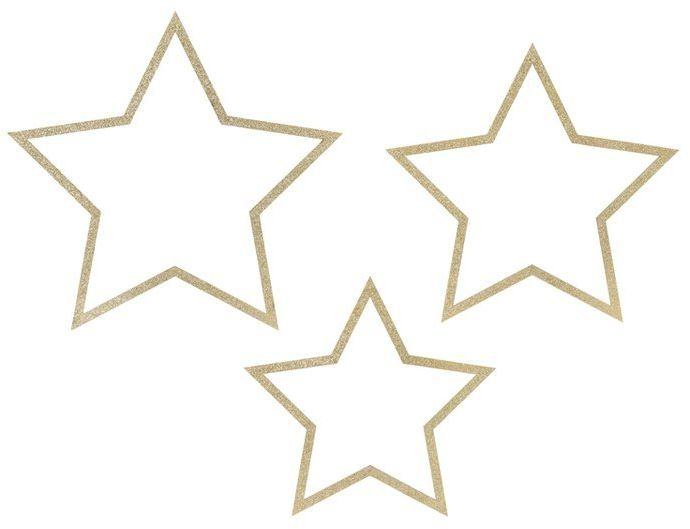 Drewniane zawieszki Gwiazdy złoty brokat 3 sztuki ZDD4-100-019