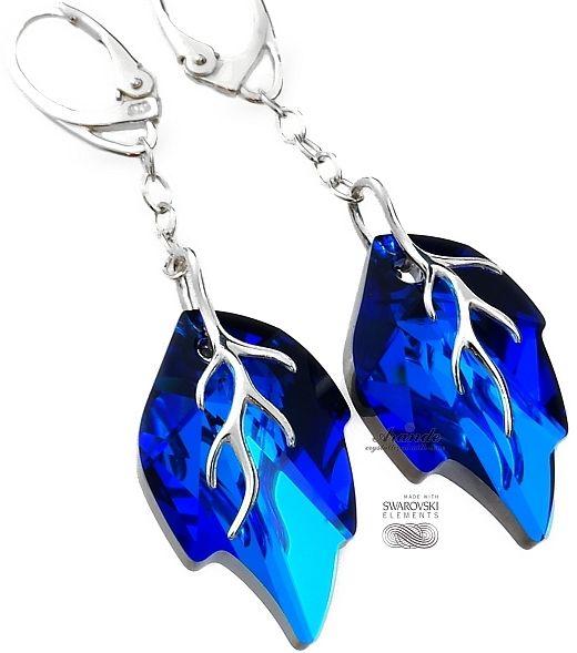 Kryształy ozdobny długi komplet BLUE LEAF SREBRO