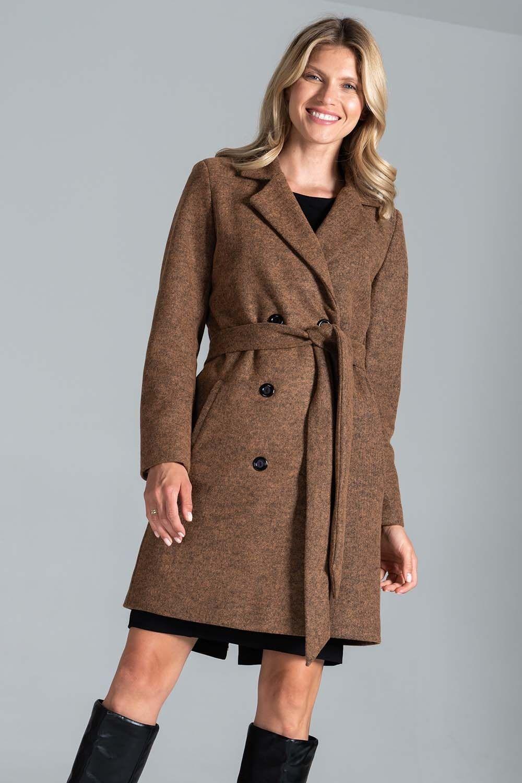 Krótki dwurzędowy płaszcz z paskiem - brązowy