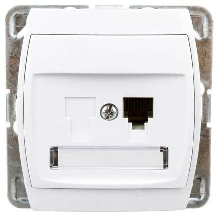 GAZELA Gniazdo telefoniczne pojedyncze RJ11 białe GPT-1J/m/00