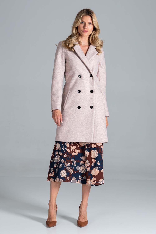 Krótki dwurzędowy płaszcz z paskiem - różowy