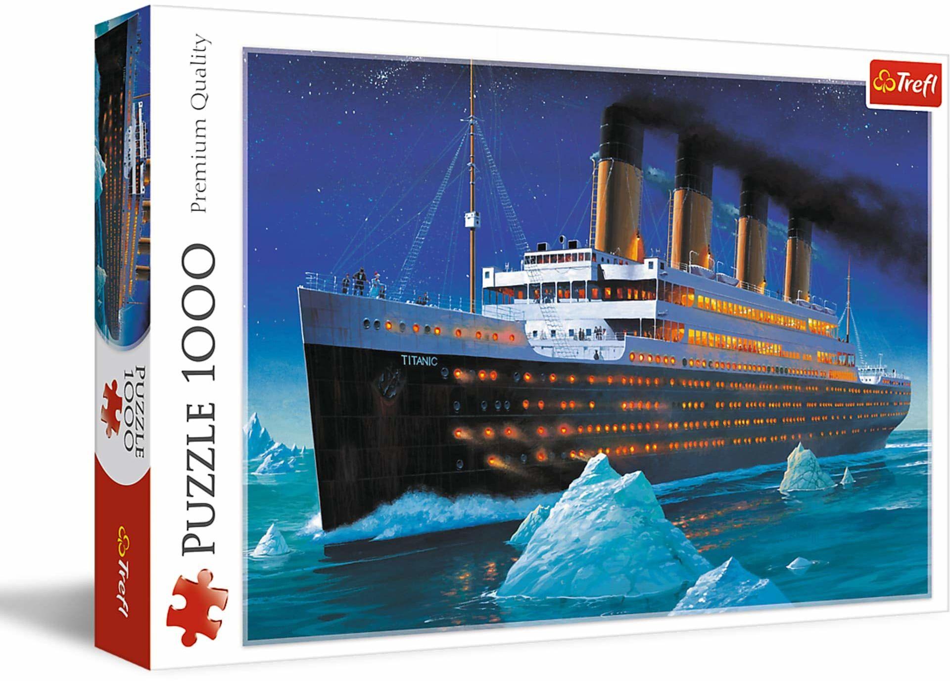 Trefl - Puzzle Titanic, Statek - 1000 Elementów, Anglia, Statek, Morze, Ocean, Góra Lodowa, Układanka DIY, Kreatywna Rozrywka, Zabawa, Prezent, Puzzle Klasyczne dla Dorosłych i Dzieci od 12 Lat