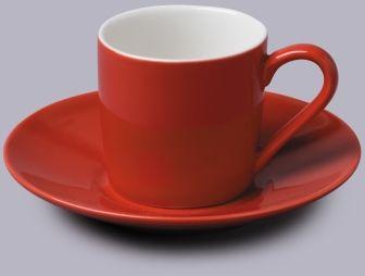 Filiżanka do espresso z talerzykiem Czerwona