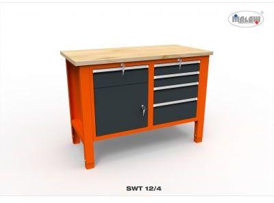 Stół warsztatowy SWT 12/04 DWÓJKA z blatem roboczym nośność 450 kg
