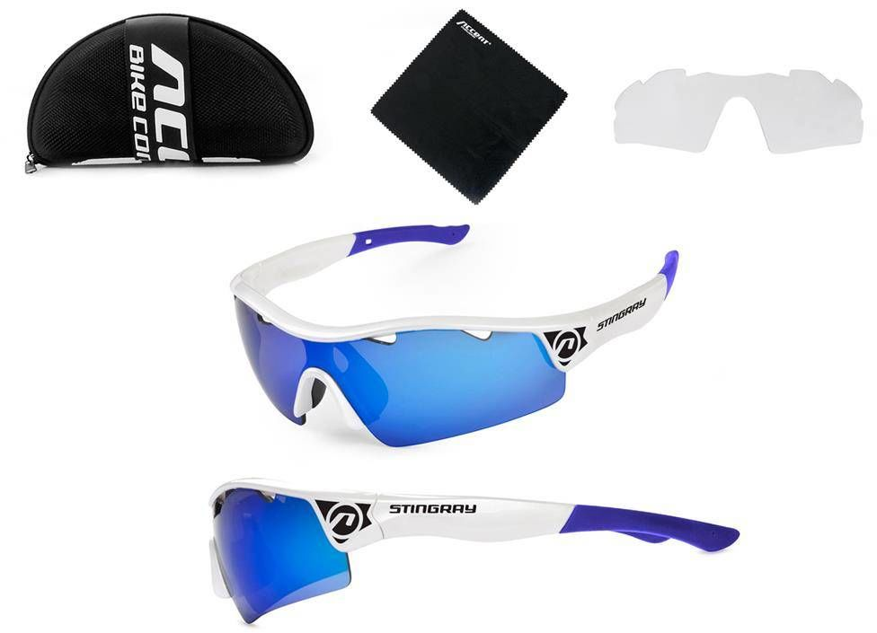 Okulary Accent Stingray białe 2 pary soczewek