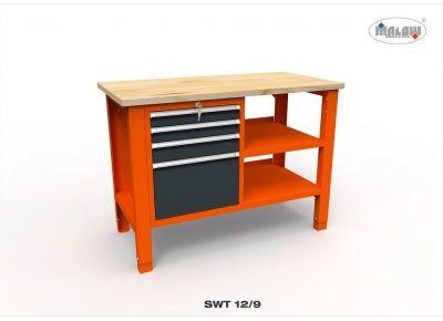 """Stół warsztatowy SWT 12/09 """"DWÓJKA"""" 4 półki 1245mm 450kg nośność"""