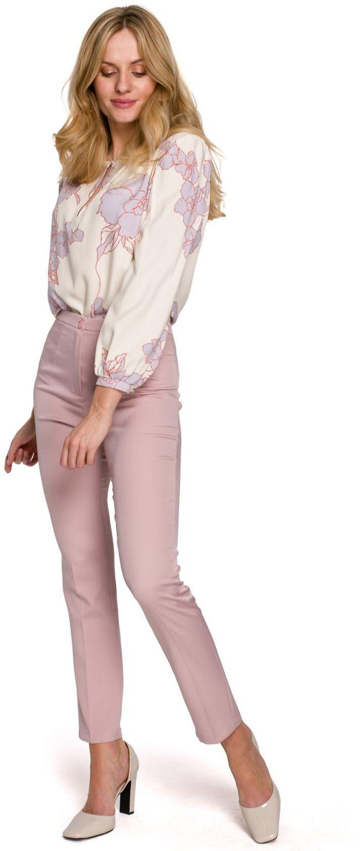 K093 Spodnie z rozcięciami z tyłu - brudny róż