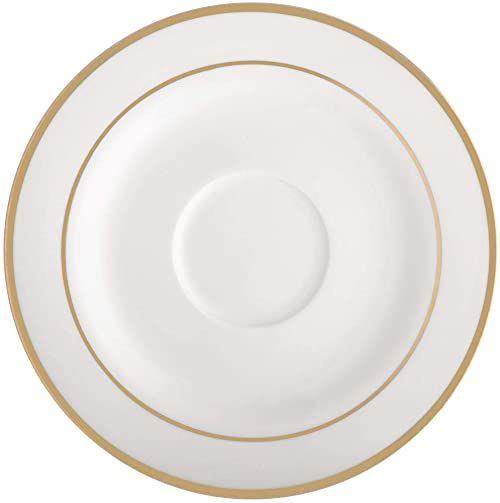 AMBITION Spodek Aura Gold 15,5 cm spodek podstawka okrągła podstawka porcelana nowoczesny elegancki