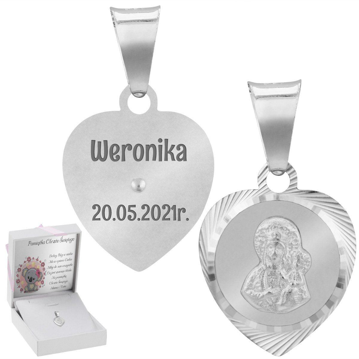 Srebrny medalik serce Matka Boska pr. 925 Grawer Chrzest Komunia