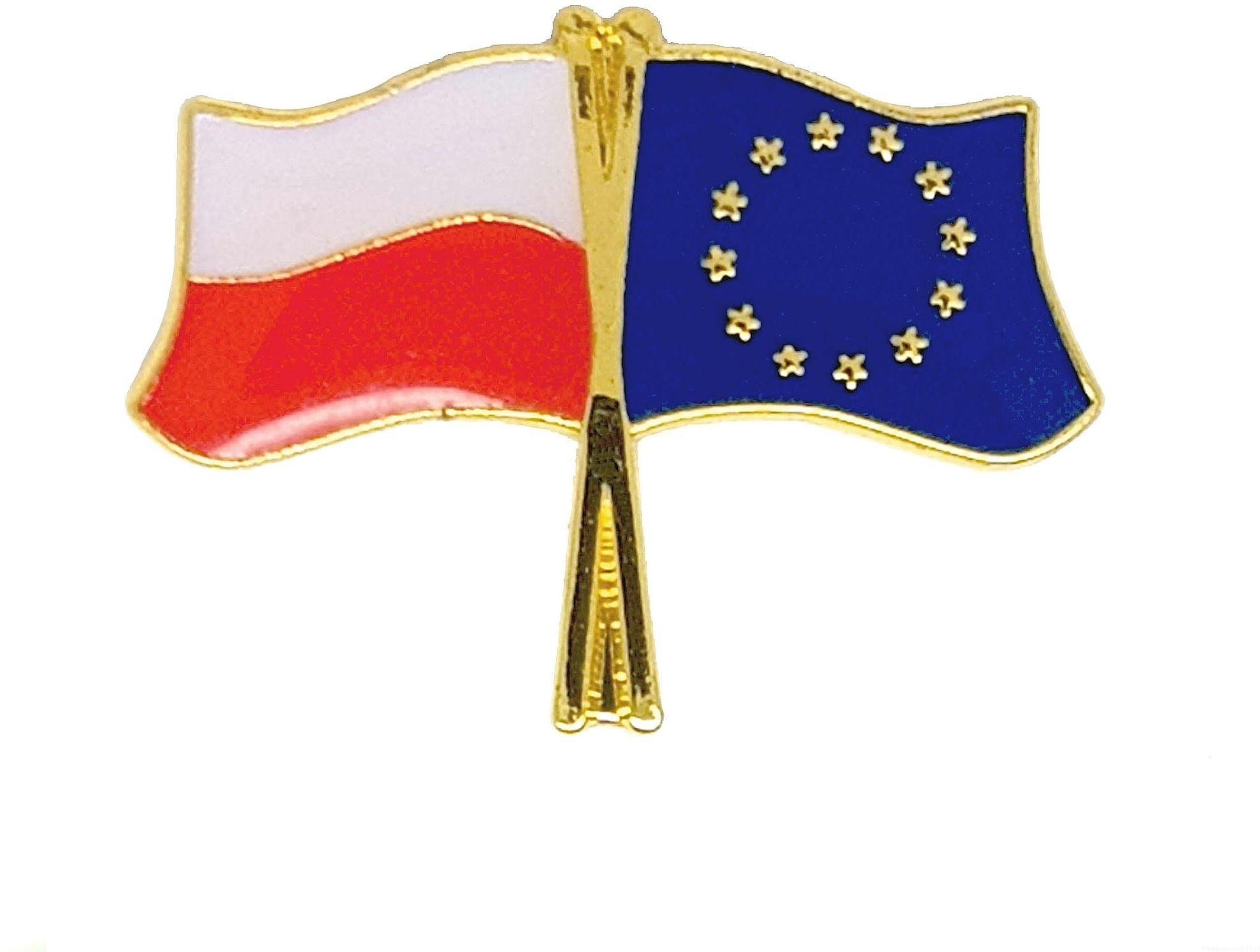 Flaga Polska - UE, przypinka