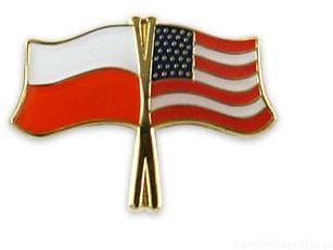 Flaga Polska - USA, przypinka