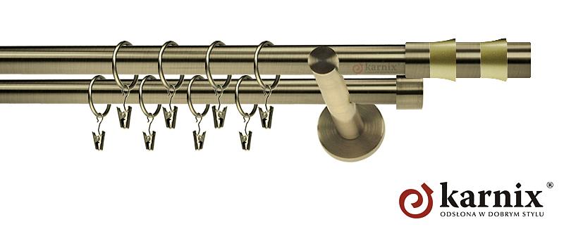 Karnisze nowoczesne NEO podwójny 19/19mm Fresno antyk mosiądz
