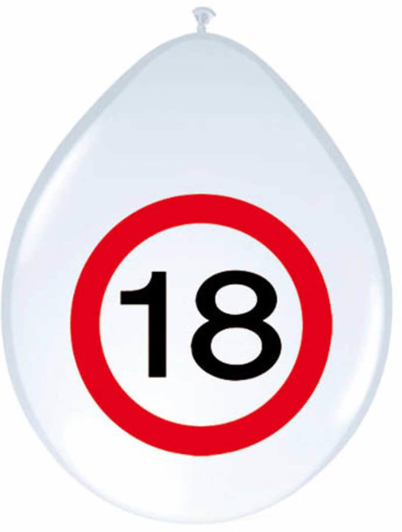 Balony Znak zakazu 18tka - 30 cm - 8 szt.