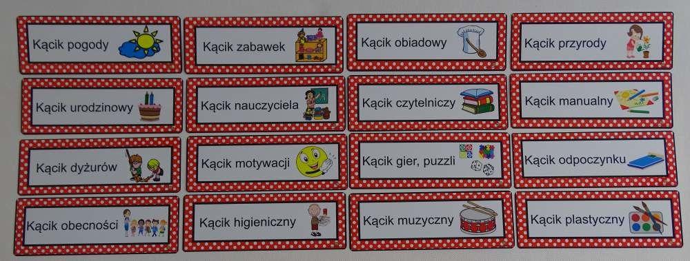 Kolorowe etykiety z obrazkami do kącików zainteresowań
