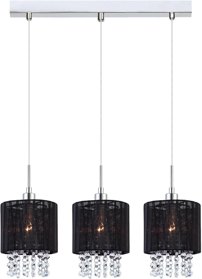 Italux lampa wisząca Astra BK MDM1953-3 BK czarny abażur z kryształami 58cm