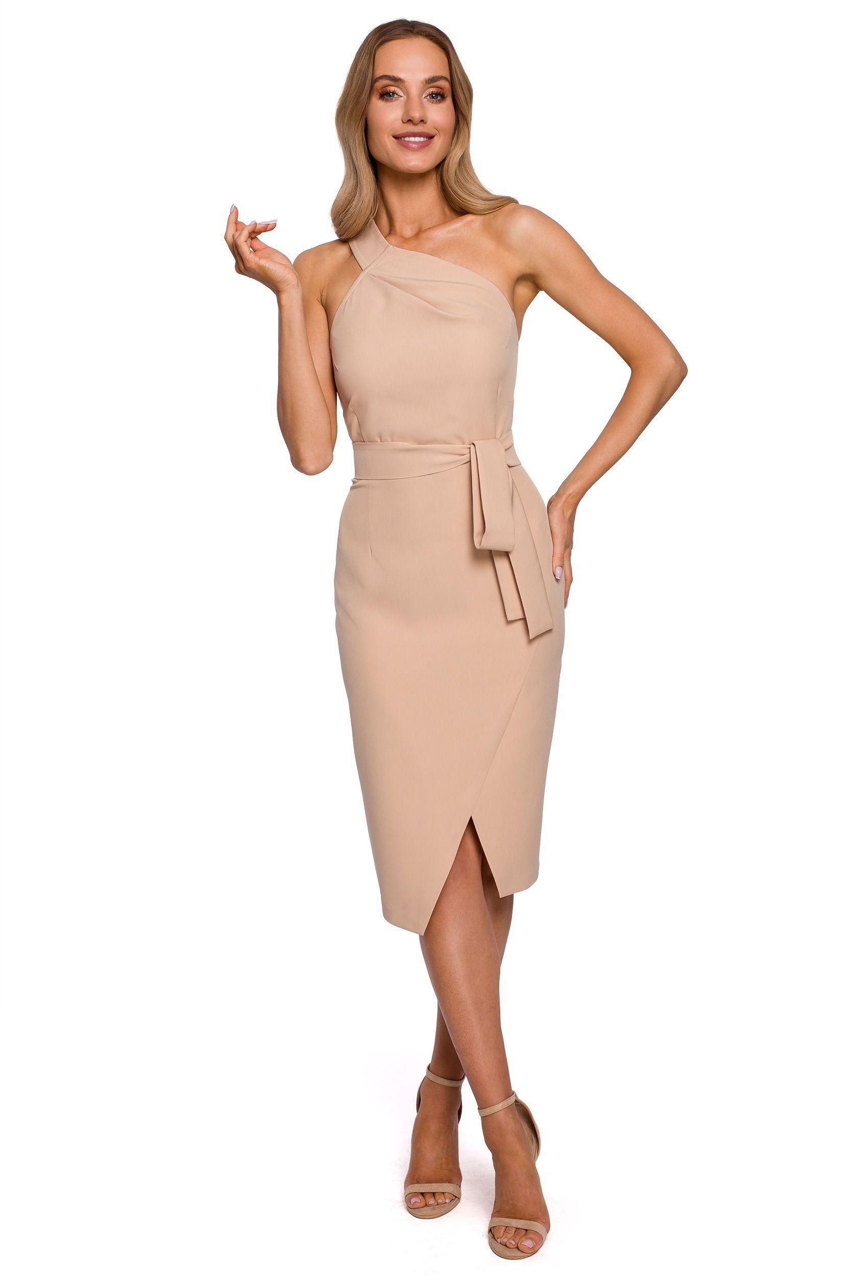 Dopasowana sukienka na jedno ramię - beżowa