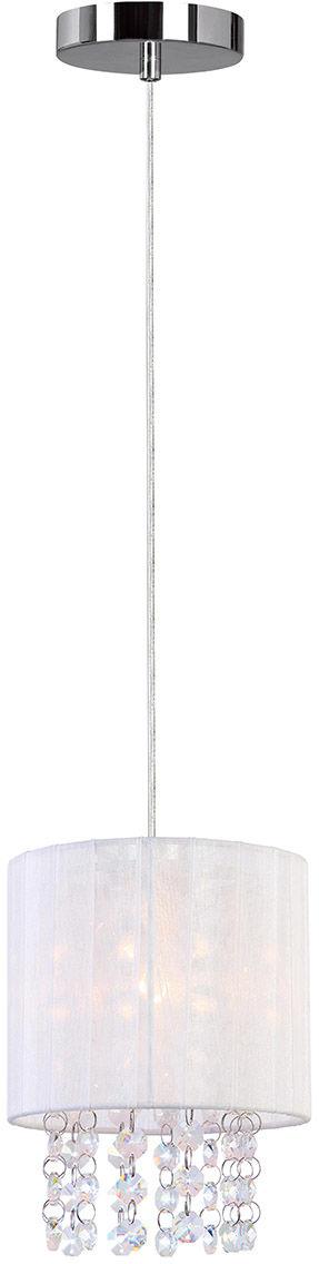 Italux lampa wisząca Astra WH MDM1953-1 W biały abażur z kryształami 14cm