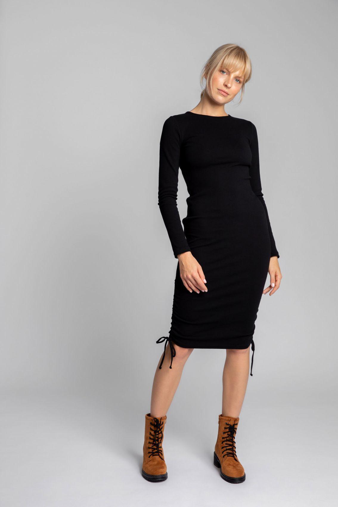 LA039 Bawełniana sukienka z szianiny prążkowanej - czarny