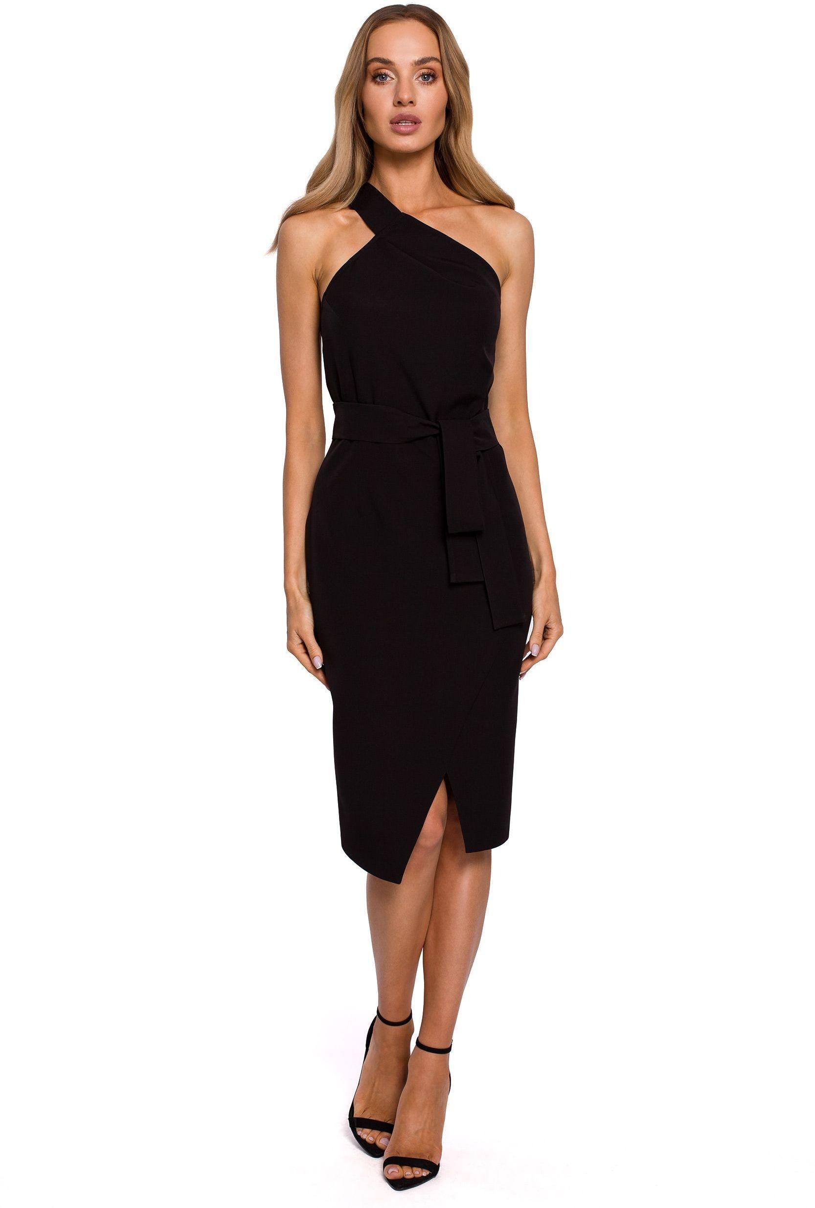 Dopasowana sukienka na jedno ramię - czarna