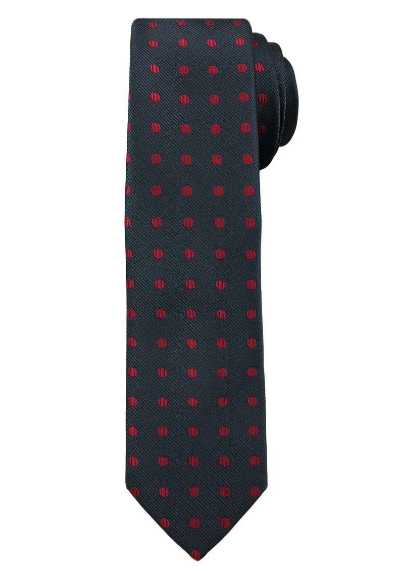 Ciemnogranatowy Elegancki Męski Krawat -ALTIES- w Czerwone Kropki, Groszki KRALTS0218