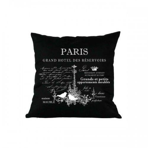 Poduszka dekoracyjna czarna Paris