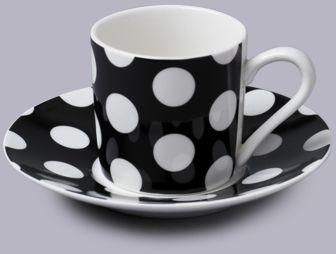 Filiżanka do espresso z talerzykiem w kropki czarny