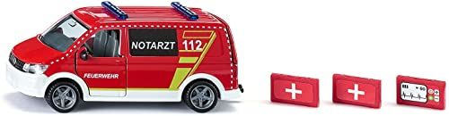 siku 2116, VW T6 ambulans ratunkowy, metal/tworzywo sztuczne, 1:50, czerwony/biały, wymienne koła, otwierane drzwi kierowcy i pasażera oraz klapa tylna, z akcesoriami