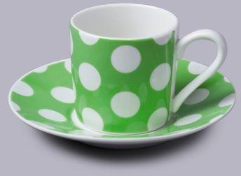 Filiżanka do espresso z talerzykiem w kropki zielony