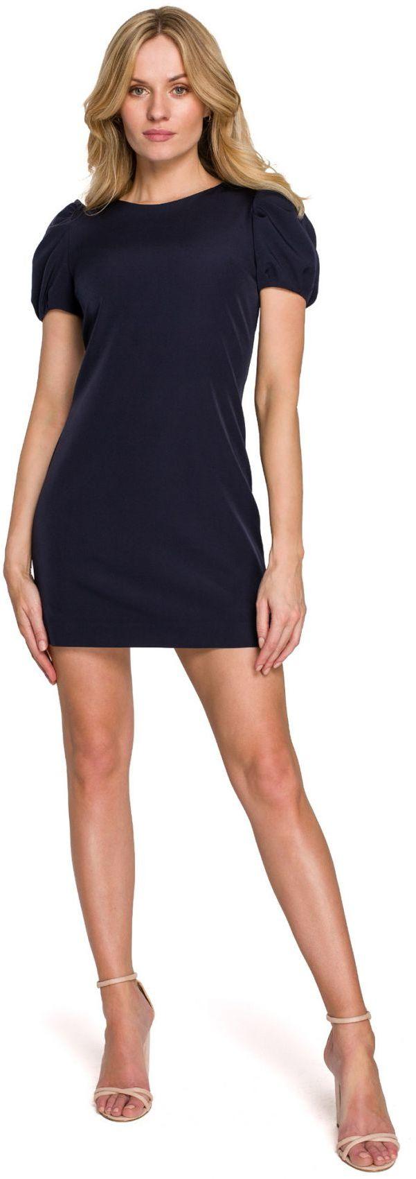 K095 Sukienka mini z krótkimi rękawkami - atramentowa
